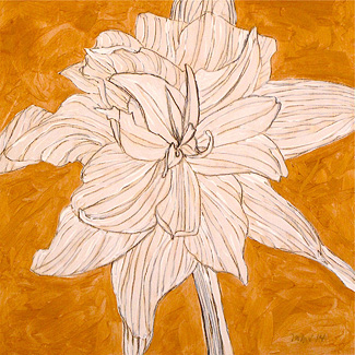 White Amaryllis on Gold No. 3