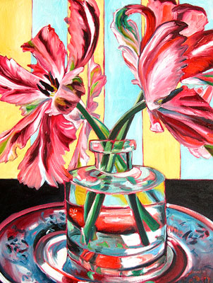 Pink Tulips on Stripes, Focus In