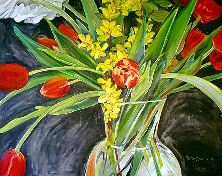 Red Tulips and Forsythia Branches, Falling Open
