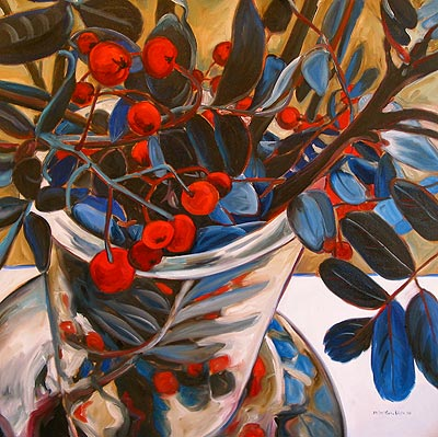 Cobalt Branches with Red Berries, Outward Movements